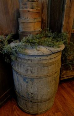 A fantastic barrel...and with a lid!! Would be nice in a rec room!  And note the shaker boxes sitting atop...treasures in themselves!!