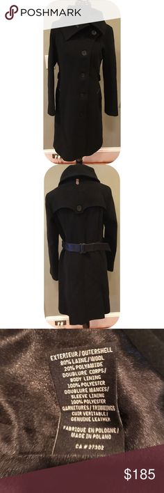 Mackage Wool Leather Trench Coat Gently worn, wool coat with leather accents and belt (belt shows some wear) Mackage Jackets & Coats Trench Coats