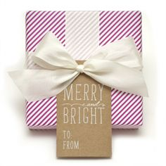 Merry and Bright letterpress printed gift tags