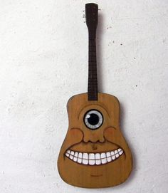 Cyclops Folk Art Guitar Hand Painted Original.  Etsy.
