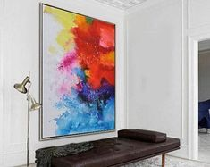Original contemporary painting on canvas, large vertical abstract painting, hand painted. FREE shipping. By Ethan Hill Art No.H5V