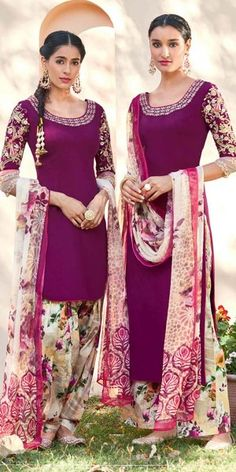 Fashionable Purple And Multi-Color Cotton Salwar Suit With Dupatta.