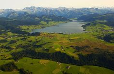 The Sihlsee artificial lake and the Glarus Alps in central Switzerland. Seen, Birds Eye View, Hiking Trails, Alps, Switzerland, Scenery, Landscape, World, Places