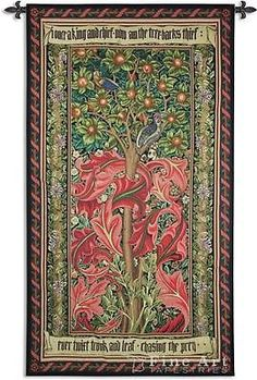 72x41 WOODPECKER William Morris Red Fine Art Tapestry Wall Hanging