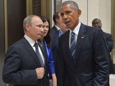 Russian President Vladimir Putin, left, listens to U.S. President Barack Obama…