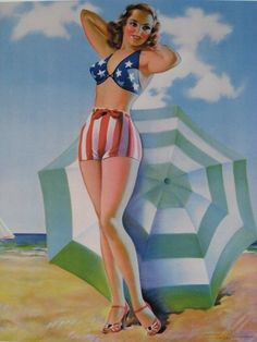 """Taber Pinup Girl Art Swimsuit Sweetie at Beach """"Stars and Stripes"""" Patriotic WOW #Realism"""