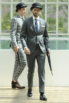 Town Suit Collection in Grey with Umbrella & Bowler Hat
