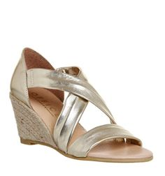 Office, Maiden Cross Strap Wedges, Gold Metallic Leather
