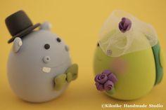 Ippopotamo e tartaruga wedding cake topper di MochiEgg su Etsy