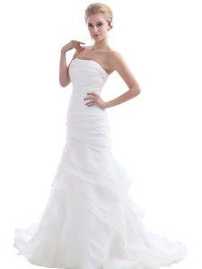 Landybridal Trumpet Mermaid Strapless Chapel Train Organza Wedding Dress B12177