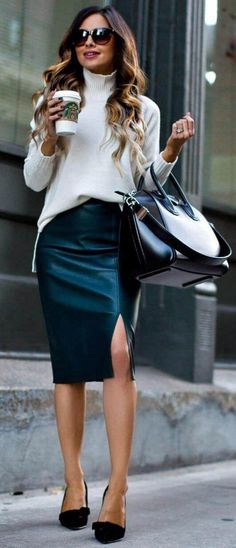 #fall #street #trends | White Knit + Black Leather Jacket