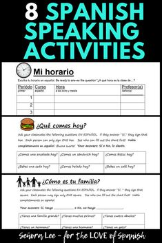 "EIGHT Spanish Speaking Activities | Build confidence in speaking Spanish! Get students out of their seats and talking to one another with these fun Spanish ""Find Someone Who"" activities. Must have Back to School resource! These communicative activities are quick games to use as an ice breaker, movement break or review at the end of the unit. Use with middles chool and high school Spanish 1 or 2 students. #spanishresources #spanishspeakingactivities #spanishfindsomeonewho"