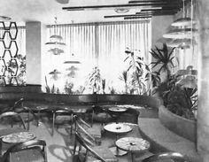 Vista de la zona de estar en la Mayan Bar, Hotel Continental Hilton, Paseo de la Reforma 166, Col. Juárez, Cuauhtémoc, Ciuadad de México 1955 (Destruido)  Arq. Fernando Parra Hernández  Diseño de interiores. David T. Williams y Juan Wörner Baz -   View of the seating area in the Mayan Bar, Hilton Continental Hotel, Paseo de la Reforma 166, Col. Juarez, Cuauhtemoc, Mexico City