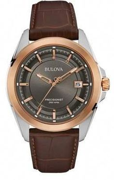 Bulova Mens' Precisionist Two-Tone Stainless Steel Brown Leather Strap Watch, Elegant Watches, Beautiful Watches, Patek Philippe, Datejust Rolex, Bulova Mens Watches, Prada, Brown Leather Strap Watch, Gucci, Swiss Army Watches
