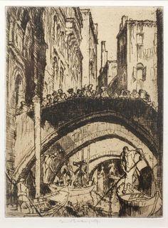 Sir Frank Brangwyn, R.A. (British, 1867-1956) Canal, Venice; Figures on a bridge over a canal, Venice; and Figures by a bridge