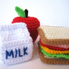 Crochet Food. Would make an awesome prank, just put these in their lunchbox and they'll be in for a big suprise.