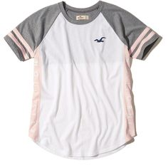 Hollister Colorblock Logo Graphic Tee ($15) ❤ liked on Polyvore featuring tops, t-shirts, white with pink, striped t shirt, crew neck tee, pink tee, pattern t shirt and white stripes t shirt