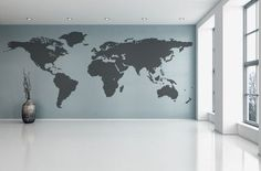 Parete arte realistico mondo mappa Wall Sticker decalcomanie Home Decor Art Cool di vinile decalcomanie Stick sulla parete arte mappa mondo