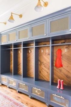 *mudroom Colorful mud room with built in storage, designed by Laura Burleson, via Mudroom Laundry Room, Mudroom Cubbies, Mud Room Lockers, Built In Lockers, Mud Room In Garage, Home Lockers, Mudroom Cabinets, Garage Entry, Front Entry