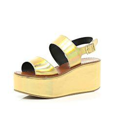Gold holographic flatform sandals