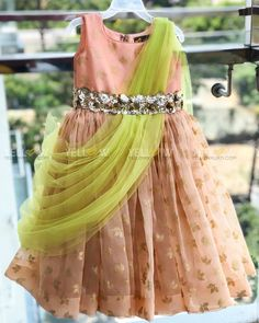 Organza drape gown in summer colors . They customise for all age groups .Kindly whatsapp @ 7995038888 for placing Orders ! 02 May 2019 Party Wear Frocks, Kids Party Wear Dresses, Kids Dress Wear, Baby Girl Party Dresses, Kids Gown, Wedding Dresses For Girls, Dresses Kids Girl, Designer Dresses For Kids, Long Frocks For Kids
