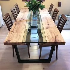 I am glad to see him in his new home! Glazed maple with glass river . - I am glad to see him in his new home! Glazed maple with river of live glass. Glass Wood Table, Wooden Dining Table Designs, Wood Table Design, Wooden Dining Tables, Dining Room Table Legs, Dining Furniture, Home Furniture, Room Decor, Spalted Maple