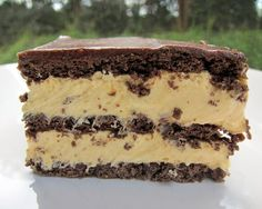 Peanut Butter Eclair Cake ~ 1 box chocolate graham crackers (there will be a few graham crackers left over) 2 boxes vanilla instant pudding 1 cup peanut butter 3 cups milk 1 container Cool Whip, thawed 1 can chocolate frosting Chocolate Eclair Cake, Chocolate Peanut Butter, Chocolate Frosting, Chocolate Chips, Chocolate Cream, Homemade Chocolate, Health Desserts, Easy Desserts, Dessert Recipes