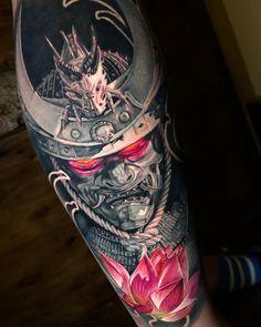 Samurai Mask, tattoo by Guillermo Moreno – Tattoos – Cozy Places Samurai Maske Tattoo, Hannya Maske Tattoo, Samurai Tattoo Sleeve, Samurai Warrior Tattoo, Shoulder Armor Tattoo, Warrior Tattoos, Badass Tattoos, Japanese Mask Tattoo, Japanese Tattoo Designs