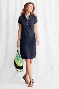 Women's Short Sleeve Solid Pique Polo Dress from Lands' End