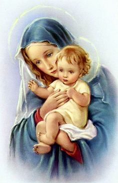 Mother Mary and baby Jesus.