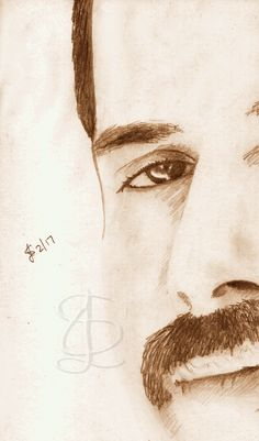 Freehand sketch of Freddie Mercury using HB pencil and eraser. Darkened and tinted digitally.