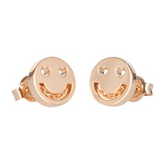 Add a touch of fun to your everyday style with these Smitten Chain stud earrings from RUIFIER. Depicting a smiling face emoji with heart-shapes eyes, these studs are inspired by the smitten feeling. W