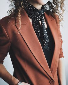 —Details— Blazer – Theory (also here) Tee –Daily Ritual Scarf – Free People Jewelry –Vintage Blazer Outfits For Women, Fall Outfits, Tomboy Stil, Autumn Winter Fashion, Winter Style, Tomboy Fashion, What To Wear, Style Me, Wrap Dress