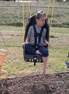 "$10 car seat we found at a yard sale, $11 polybraided rope rated to 260# and $1.60 for s-hooks. (When we looked for ""special needs swings on line we found them from $80-$500 ! ...no thank you)"