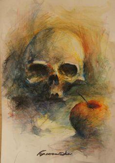 colour pencils Colored Pencils, Still Life, Tattoo Artists, Artworks, Skull, Colour, Painting, Colouring Pencils, Color