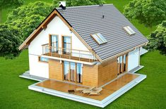 DOM.PL™ - Projekt domu DN DIONA BIS CE - DOM PC1-37 - gotowy koszt budowy Open Floor House Plans, Porch House Plans, 4 Bedroom House Plans, Basement House Plans, House Plans One Story, Best House Plans, Story House, House Rooms, Dixon Homes