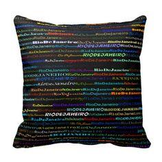 Rio de Janeiro Text Design I Throw Pillow Pillow