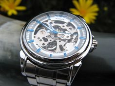 Silver and Blue Men's Classic Mechanical Wrist Watch in Stainless Steel - Automatic Watch - Metal Band - Groomsmen - Watch - Item MWA1074