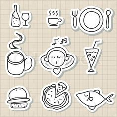 Vector of hand drawing food drink icon set