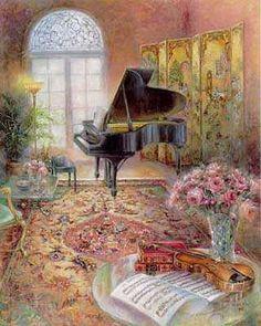 Lena Y Liu Paintings | print by liu lena music room ii by liu lena
