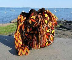 Large Chila Wayuu Bag 5 in strap by TataWayuu Plaid Scarf, Dreadlocks, Purses, Crochet, Hair Styles, Bags, Beauty, Knitting, Fashion