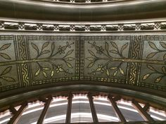 Jesse Rust glass mosaic ornamentation, entrance porch, Manchester Town Hall. July 2018. Manchester Town Hall, Mosaic Glass, Mosaics, Valance Curtains, Rust, Entrance, Porch, Tower, Patterns