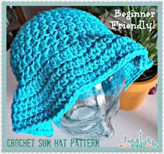 Crochet Sun Hat - Free Pattern and Video Tutorial - great for beginner crocheter. Easy to make with cotton yarn for summer sun shade
