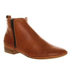 Ten Points Toulouse Zip Boot Cognac Leather - Ankle Boots