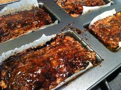 Dairy Free, Gluten Free Meatloaf made in mini loaf pans with a balsamic creme glaze on top