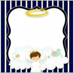 Bolinha de Sabão Batizado Menino Azul Marinho e Branco