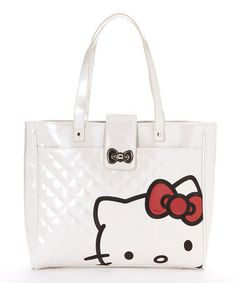 Take a look at this White Quilted Patent Hello Kitty Tote on zulily today!  Hello 11c19ee31e