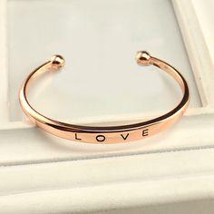 Новинка элегантный очаровательная женщины леди розового золота резные любил открытие манжеты браслет ювелирные изделия для любовник купить на AliExpress