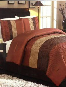 d888bd1724 Amazon.com: 4 Piece Luxury Faux Silk Queen Comforter Set Stripe Orange &