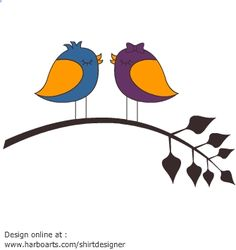 DOWNLOAD 2$ vector art like this cute cartoon drawing of two birds on a branch in love and enjoy royalty-free commercial usage rights. Download link will be available on payment - (see license and usage rights)  Direct link >> http://harboarts.com/artwork/cartoon-love-birds-on-branch-vector-graphic_template_1450334049028L5H/  #Cute #Love #Silhouettes #Birds #Kisses #Nature #Trees
